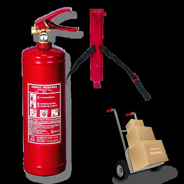 Práškový hasicí přístroj 2 kg s revizí. a autověšákem